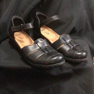 Clark Black Leather Sandals